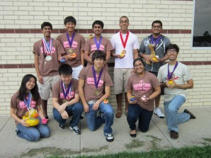 The Academic decathlon team poses after state competition. Left to right, back row: senior Varun Bora, junior Cody Nguyen, senior Sathvick Aithala, senior Anderson Frailey, and senior Saif Ali. Front row: senior Nicole Chu, senior Roy Su, senior Diego Rivera, senior Pruthali Kulkarni, and senior Neel Bhan.