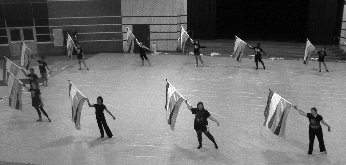 Winter guard often practices on Saturdays for 12 hours at a time. Members say that they put plenty of time and effort into perfecting routines.