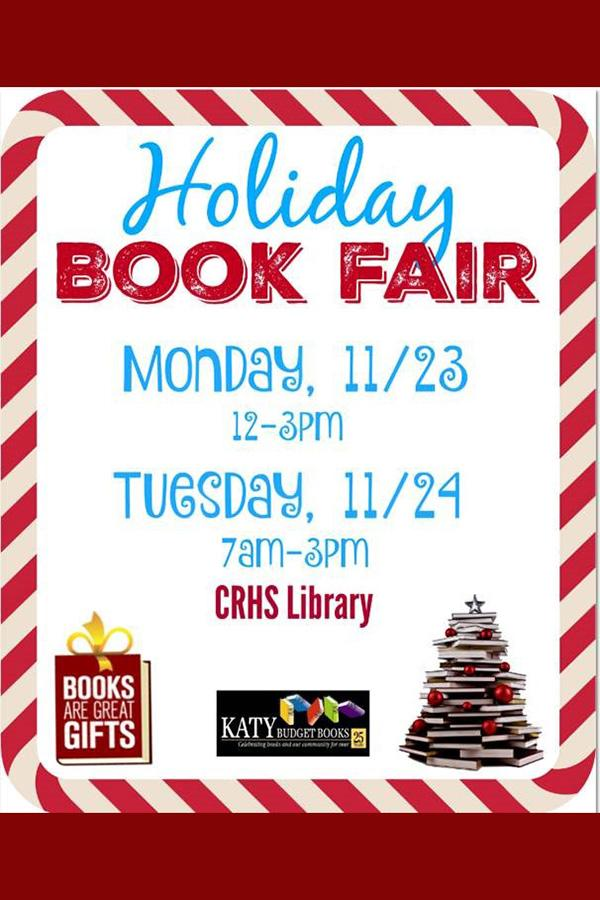 The Library holiday book fair takes place Monday and Tuesday this week.