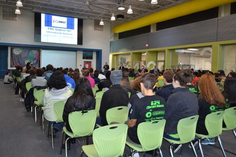 The chairs are all filled at the Robert R. Shaw STEAM Center as teams await the reveal of the 2017 challenge.