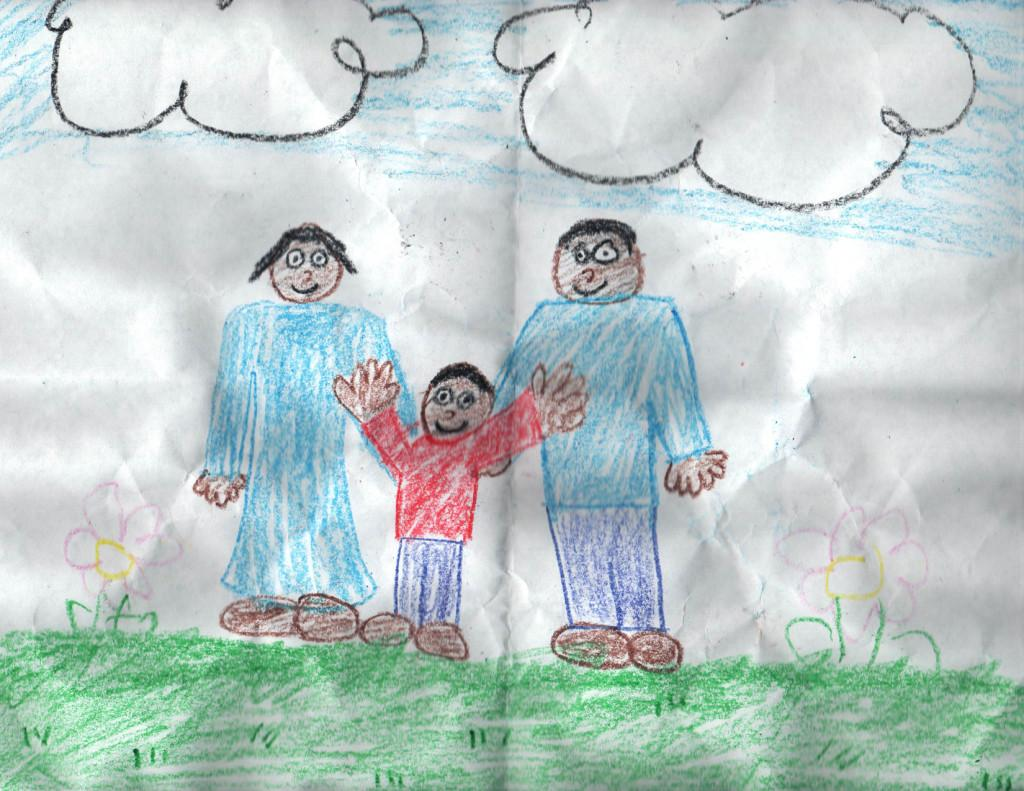 A picture of my siblings and I that I drew in elementary school, which highlights my individuality and demonstrates my enthusiasm to be a unique individual.