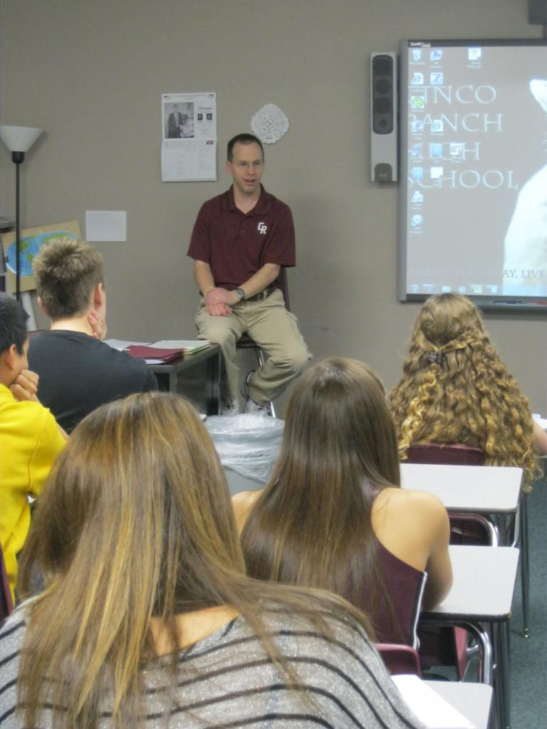 Brockinton teaches students about the revolutions in Latin America, how the French Revolution had affected them, and how revolts are still struggling to succeed today