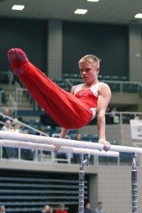 Get on his level: Junior competes in gymnastics but will focus on academic career