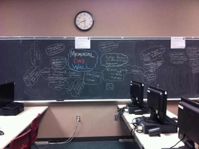 Chalk dusts the fingers of those who solemnly pay their respects in room 2506.