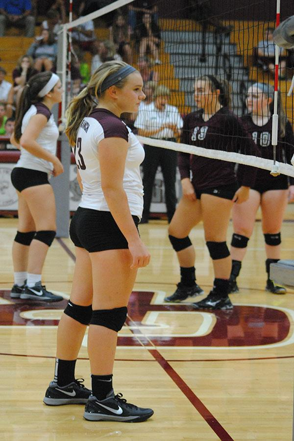 Sophomore setter Audrey Parker waits for a serve in the JV match Aug. 12.