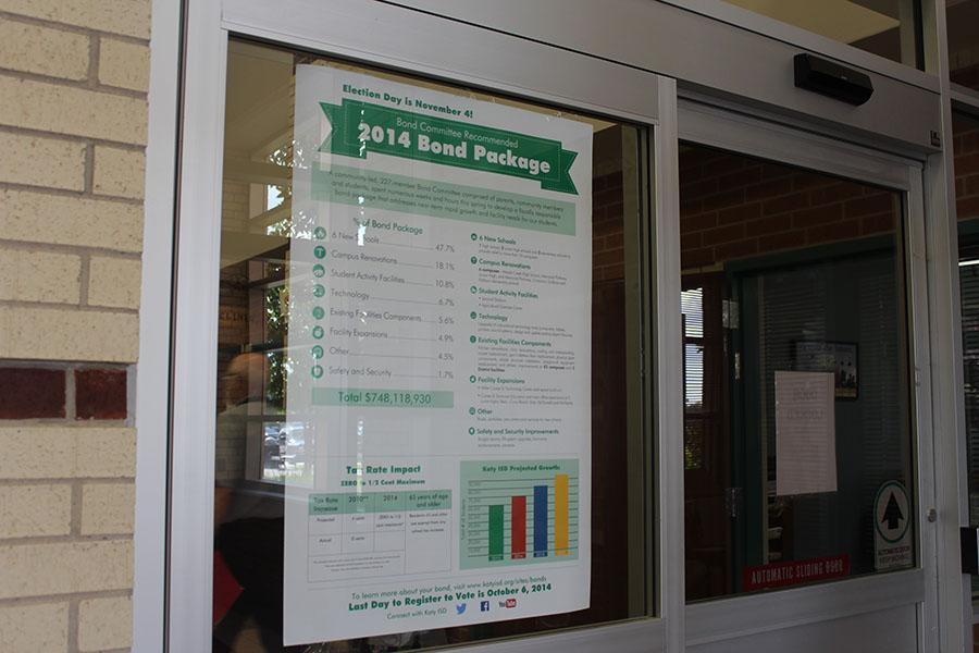 Informative signs about the bond election are posted at every Katy ISD campus.
