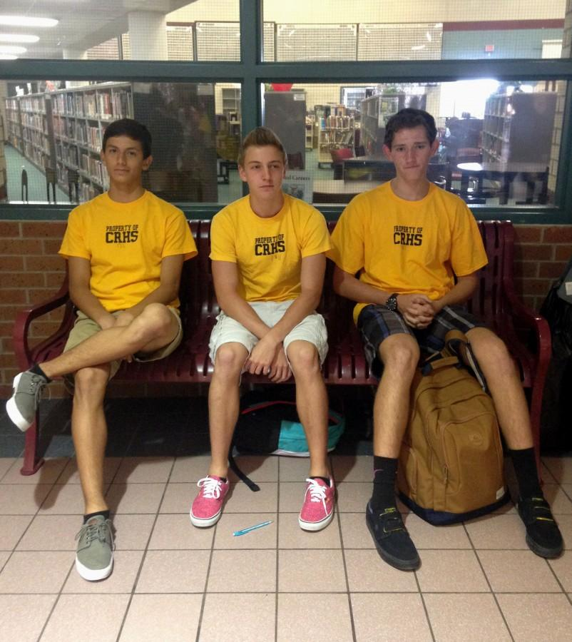 Sophomores Alejandro Cstikovits, Cameron Crocket, and Ben Butler contemplate their lives after being dress coded.
