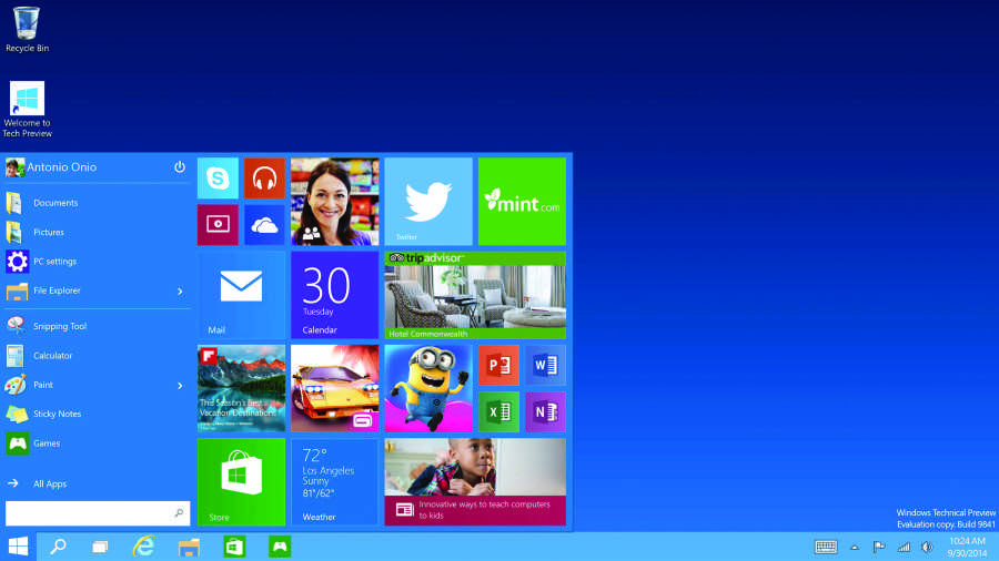 Microsoft shows off the new Windows 10 Start menu. Release to manufacturing is currently targeted from June 2015