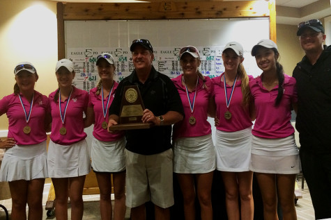 From left to right Madison Goldblum, Sara Kelley, Alexis Kollmansberger, Head Coach Rick Nordstrom, Maddie Luitwieler, Katy Rutherford, (Medalist) Sarah Zimmerle, and Assistant Coach Kevin Hildebrand pose with their medals and plaque. Girls will play in the 6A conference at University of Texas Golf club April 27th-28th.