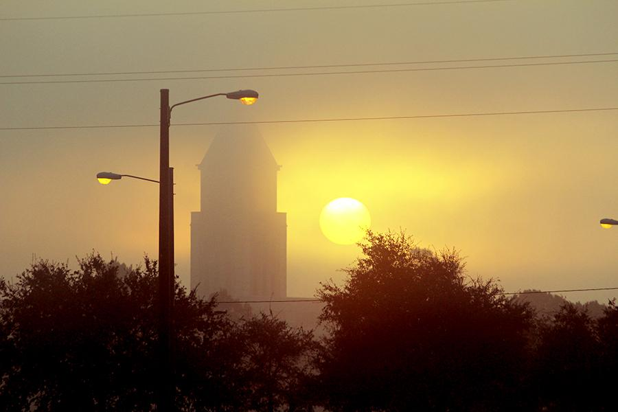Dense fog rolled in Wednesday morning creating a tranquil,  surreal horizon as the sun slid above the LaCenterra clock tower. The fog combined with a car fire along Cinco Ranch Boulevard caused traffic delays and tardiness for students and faculty.