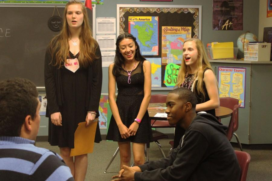 Students pay to send choir groups to different classrooms and sing to people they choose.