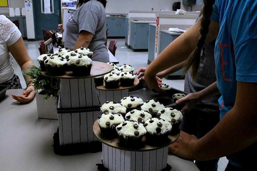 Students taking part in the competition create a set-up where they place their cupcake creations to make a beautiful display.