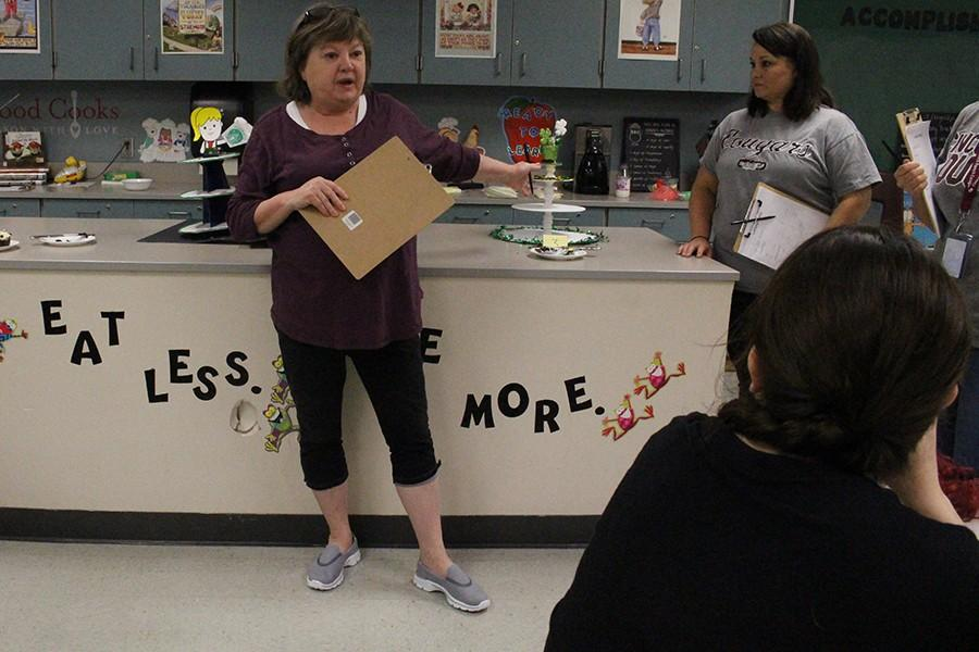 Assistant principal Kay Fenn explains how each cupcake was different from its competitors.