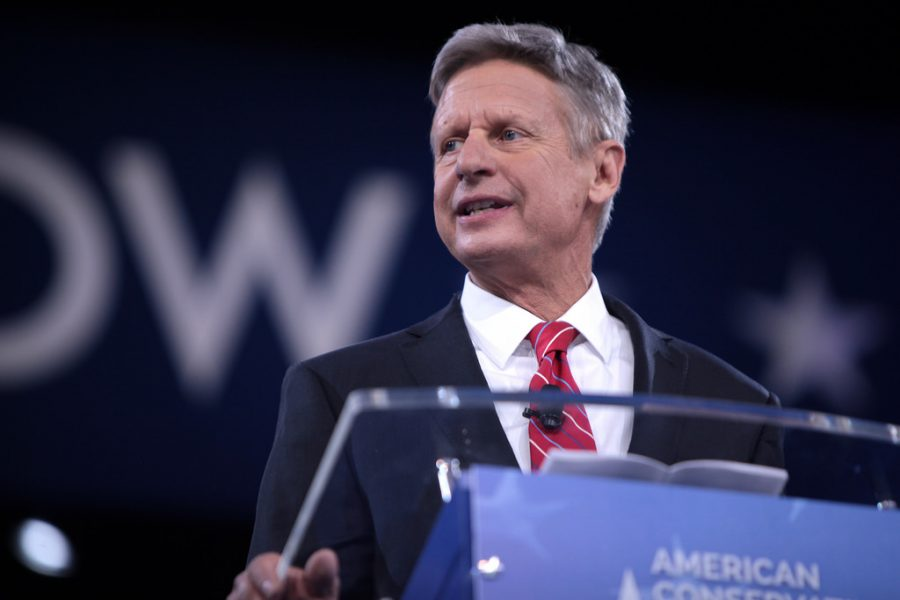 Libertarian candidate and former New Mexico Governor Gary Johnson speaks at the 2016 Conservative Political Action Conference in Maryland. Johnson's party is socially liberal and fiscally conservative, and  is the third largest political party in the U.S.