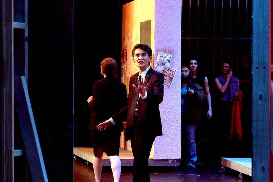 Franz (Villanueva) looks shocked as his mother, Hilda, (Helmer) threatens to hit him. He breaks into Hit Me With Your Best Shot  after the realization. Villanueva was a hit in the musical as he received standing ovations from a loving crowd.