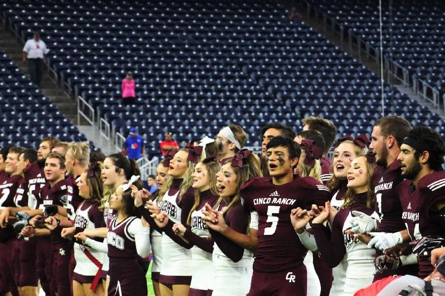 Players%2C+cheerleaders%2C+coaches+and+trainers+link+pinkies+as+they+sing+the+alma+mater.+They+are+headed+to+round+four.+