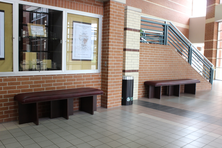 Existing benches near the Performing Arts Center received a face-lift with new seat covers. Dean Fuchs' Ag Metal Fab Class made and stained bases for two other benches.