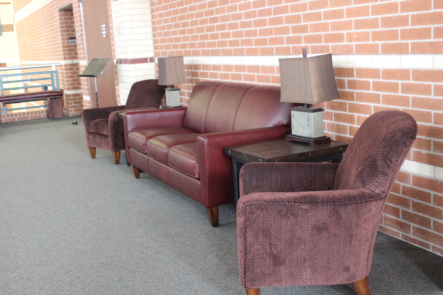 Along with fresh benches, the area outside the PAC gained new furniture, including a new leather couch.