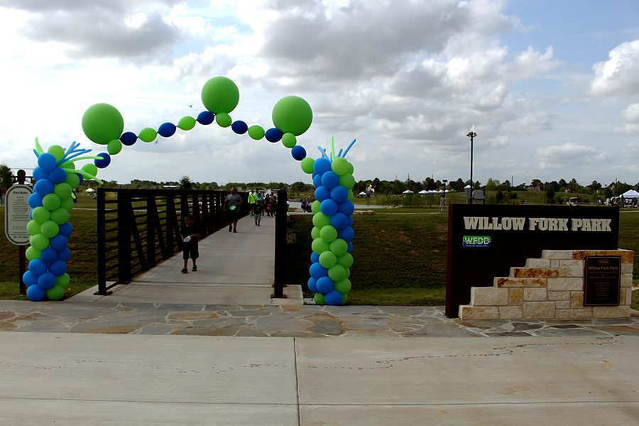 Community members celebrate the official opening of Willow Fork Park with food, fun and game. The park technically opened early last November, but they hosted the grand opening April 1.