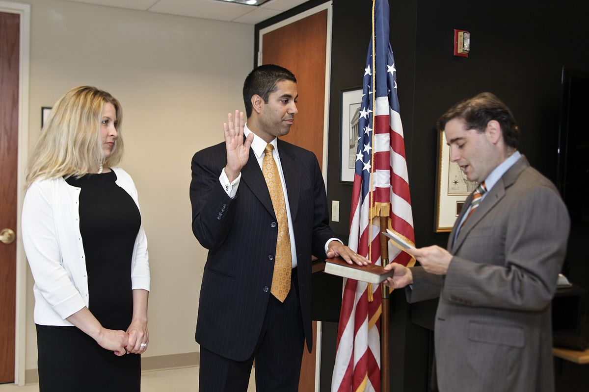 Ajit Pai is sworn in as a member of the Federal Communications Commission in 2012. Recently appointed Chairman of the Commission, Pai plans to remove the longstanding policy of Net Neutrality.
