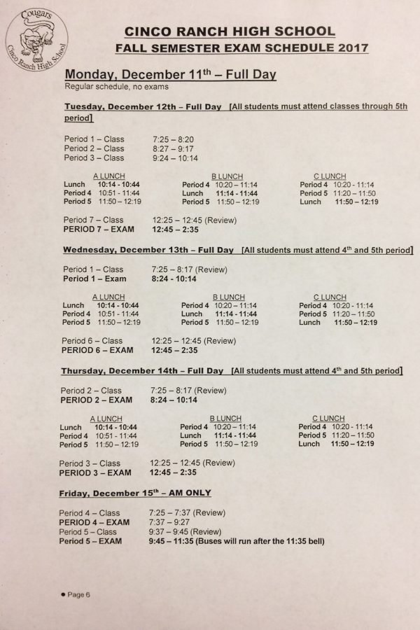 Semester finals begin Tuesday afternoon, Dec. 12. Exemption cards are due to grade level principals by the end of the school day Monday.