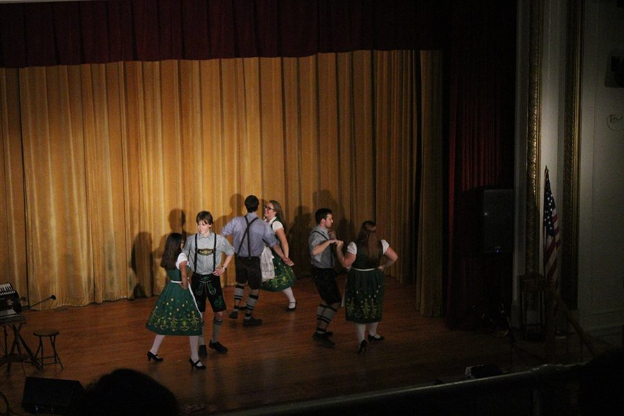 German students from various schools perform traditional German folk dances before the award ceremony.