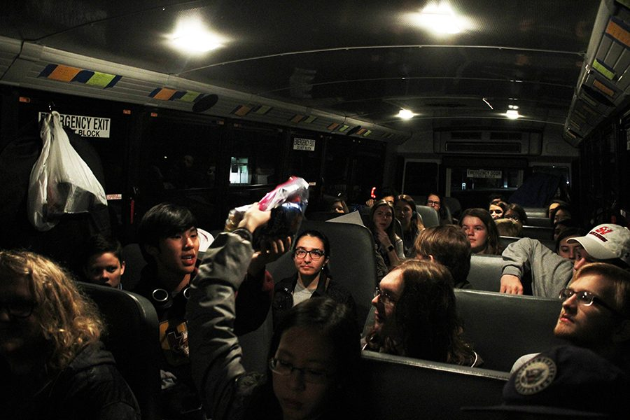 German Club students ride the bus to Houstonfest.