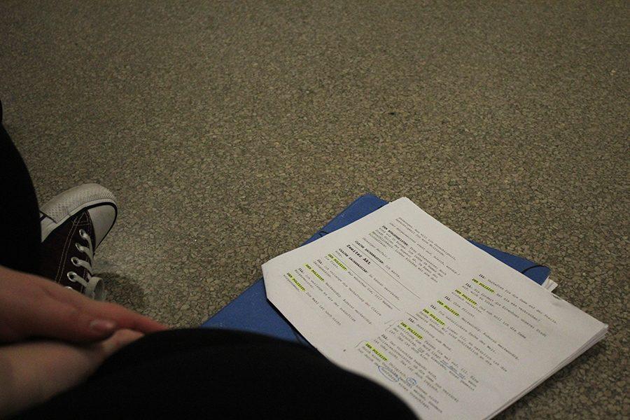 Senior Rachel Foreman studies her script for the play.