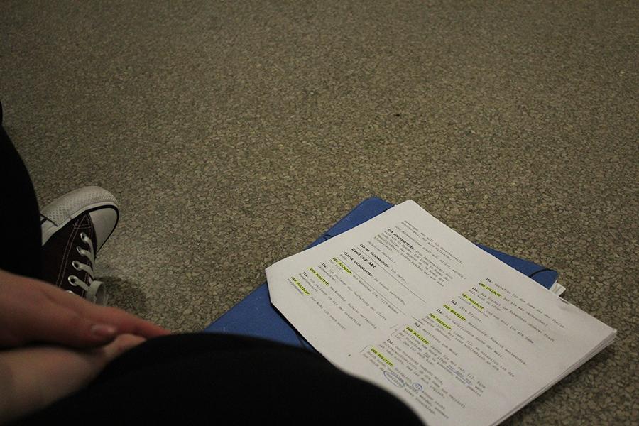 Senior+Rachel+Foreman+studies+her+script+for+the+play.