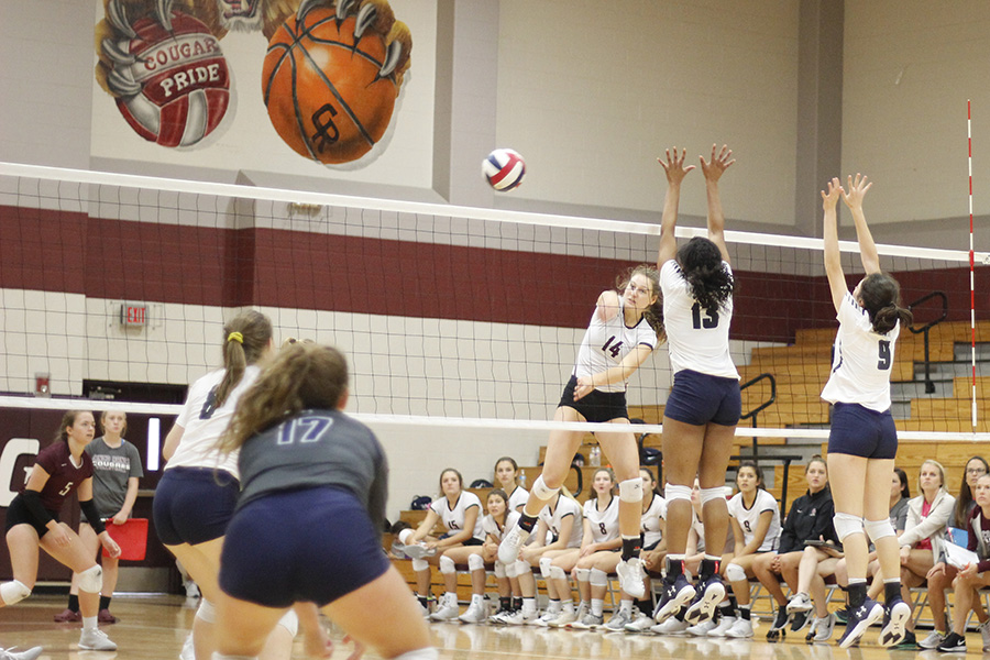 The Cougars controlled the net in the Division 3 match against Tomball Memorial Thursday. Strong frontline play helped Cinco advance to the Gold bracket semi-final round Saturday at Katy High School in the KISD-Cy-Fair Tournament.