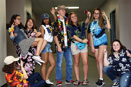 Students enjoy their tourist wear.