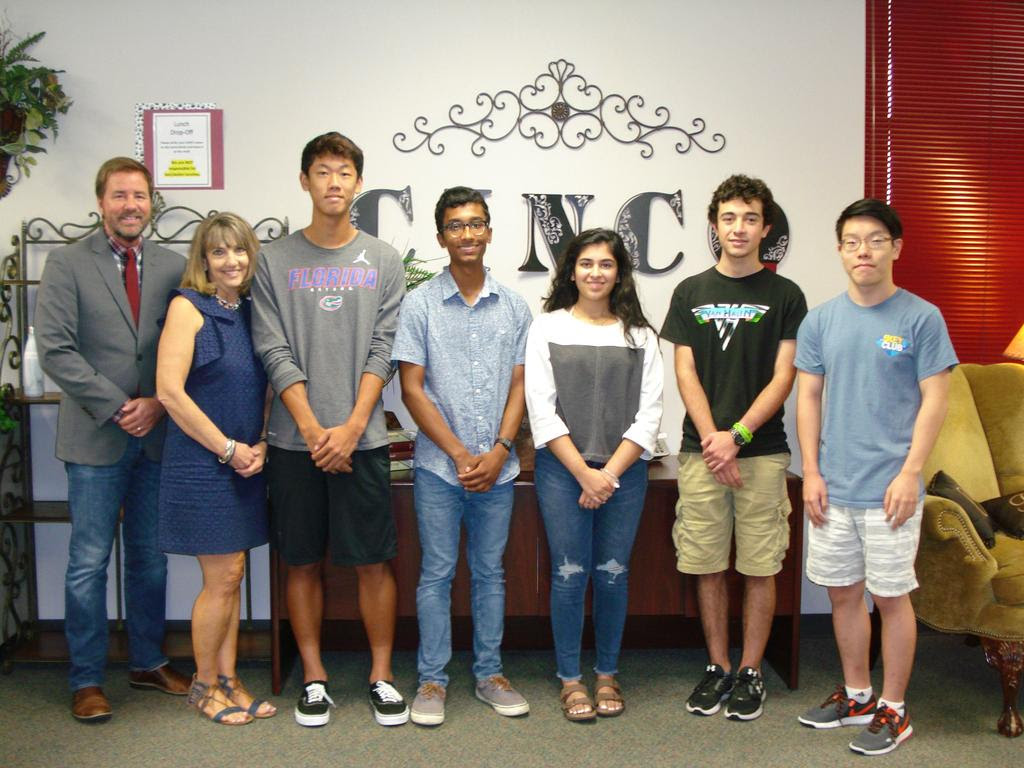 Principal James Cross, 12th Grade Assistant Principal Jane Baker, Brian Wan, Nevin George, Nandika Mansingka, Andy Hassun, Brian Guo