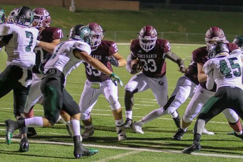 The Cougar offensive line opens a hole in a game last season against Mayde Creek. The 2019 squad opens the season Saturday night  against Cy-Ranch in a 6:30 kickoff at Legacy Stadium.