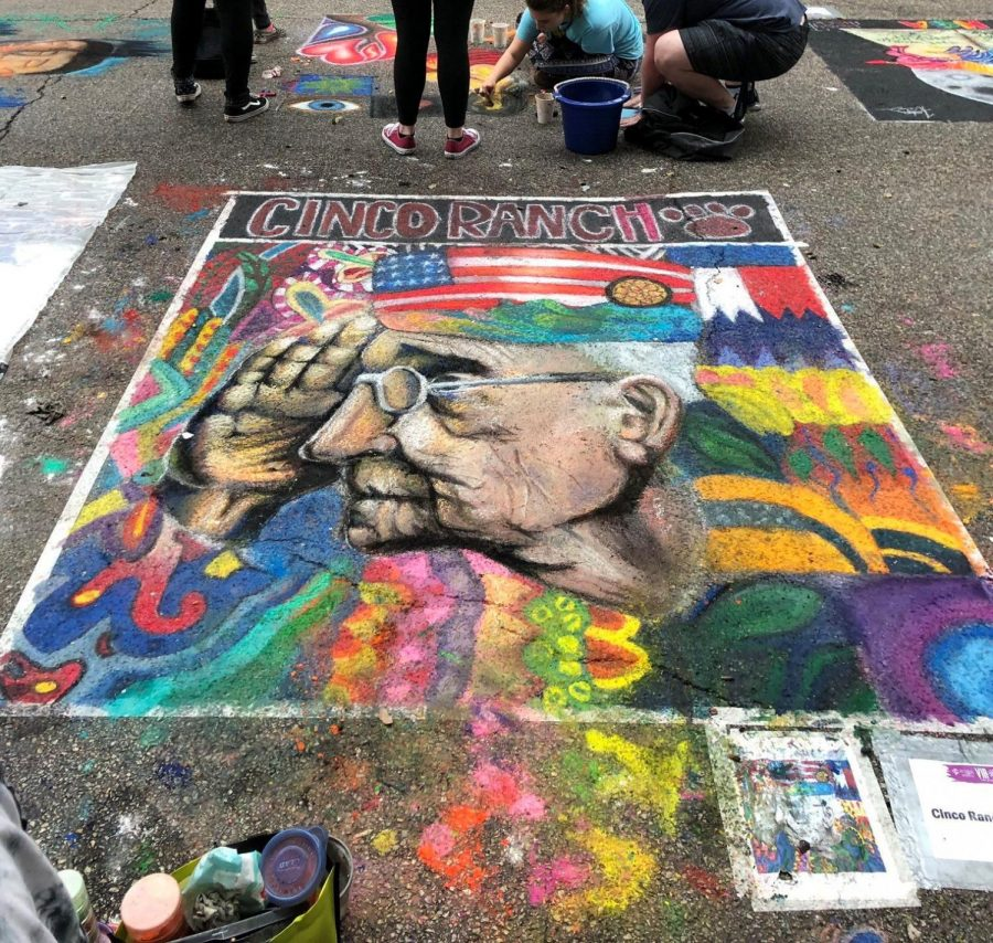 One of the many chalk illustrations Cinco Ranch NAHS members created for the Via Colori Festival last year in November.