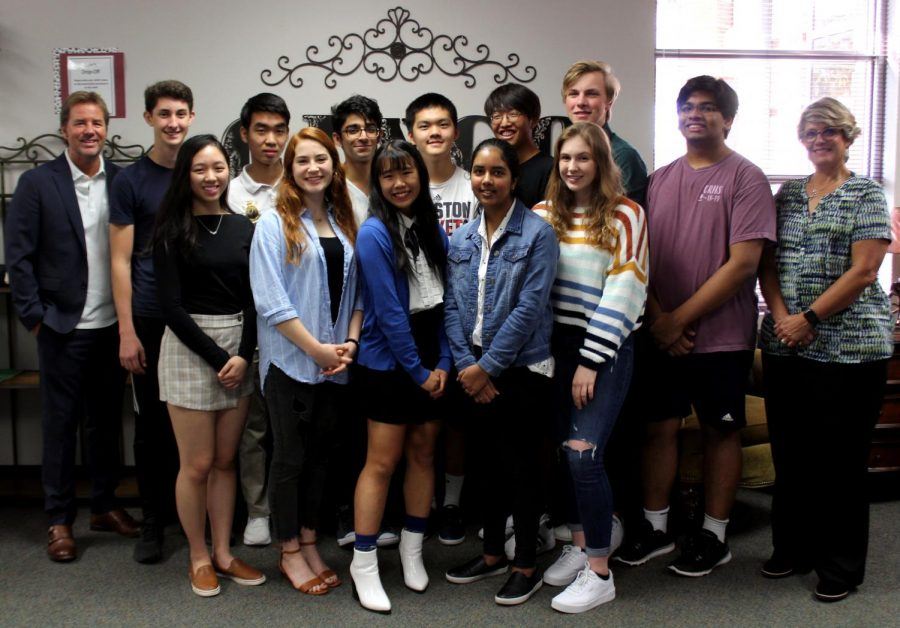 National+Merit+semifinalists+smile+beside+Principal+James+Cross+%28far+right%29+and+Senior+Assistant+Principal+Tammy+Laurence+%28far+left%29.