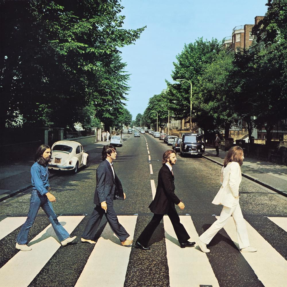 The album cover of the four Beatles members crossing the iconic zebra striped crosswalk. Courtesy of Apple Records