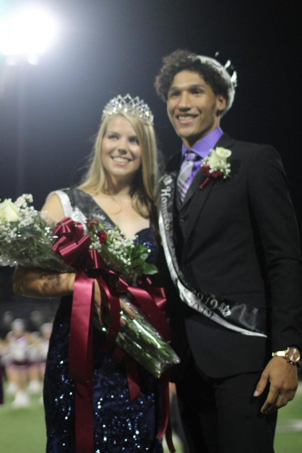 Seniors Jayden Collymore and Kelly Haas were crowned Homecoming King and Queen during halftime.