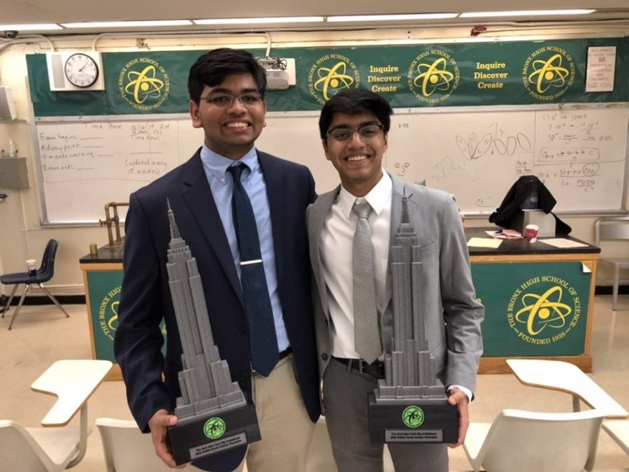 Anuraag Routray and Aatreya Tewary won first place in the public forum competition at the New York City Invitational Debate and Speech Tournament on October 19 and 20.