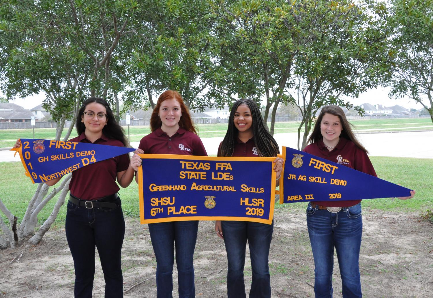 Greenhand FFA skills team with their 6th place award flags