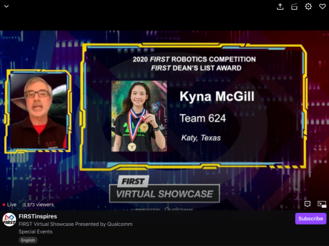 Junior Kyna McGill was one of 10 students across the globe who won the worldwide Dean's List Award; this is the first time a member of the CRyptonite Robotics team has won the worldwide award.
