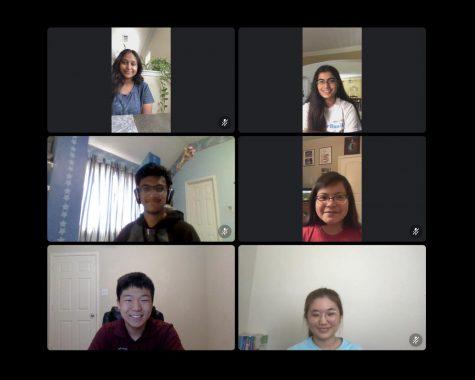 The Extemp speech team holds a meeting over Discord. From left to right, top to bottom: junior Anusha Bhuiyan, sophomore Maitreyi Dighe, freshman Rishabh Choudhury, freshman Kayla Robles, junior Seth Choi, and freshman YuJin Cha.