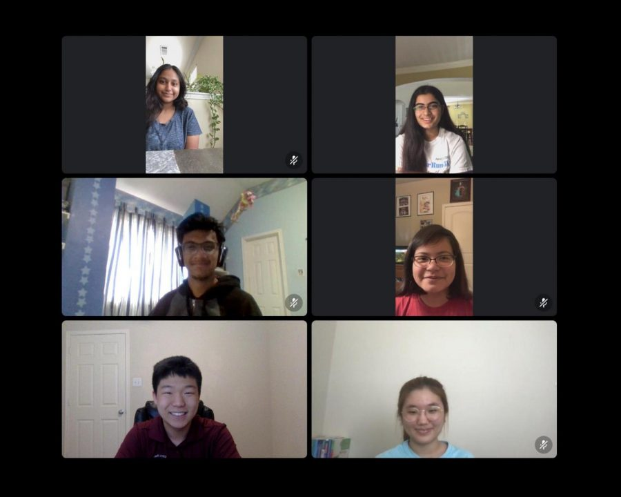 The Extemp speech team holds a meeting over Discord. From left to right, top to bottom: junior Anusha Bhuiyan, sophomore Maitreyi Dighe, freshman Rishabh Choudhury, freshman Kayla Robles, junior Seth Choi, and freshman YuJin Cha.