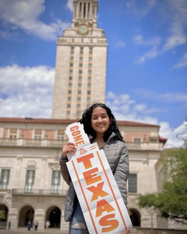 Salutatorian Zara Shipchandler poses in front of the University of Texas at Austin tower on April 18, 2021.